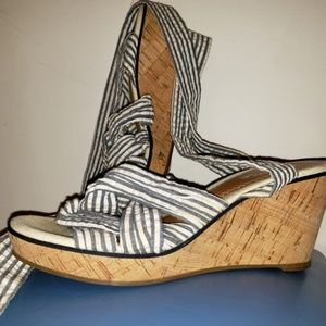 Women's Stripped Sperry Ankle Wedges